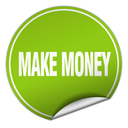 make money: make money round green sticker isolated on white
