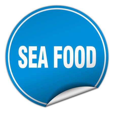 sea food: sea food round blue sticker isolated on white Illustration