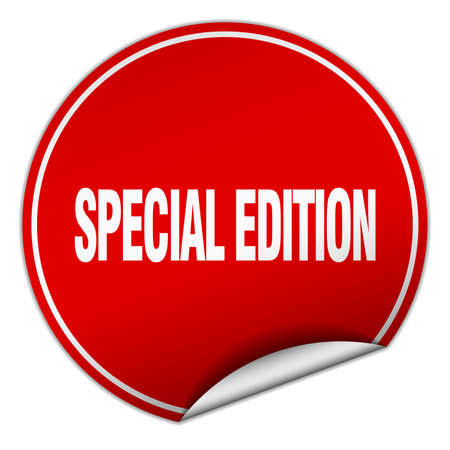 special edition: special edition round red sticker isolated on white