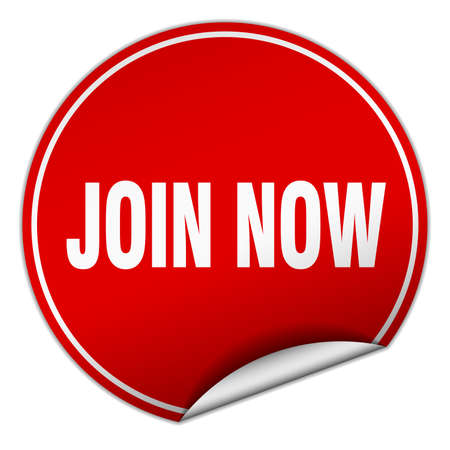 join now: join now round red sticker isolated on white
