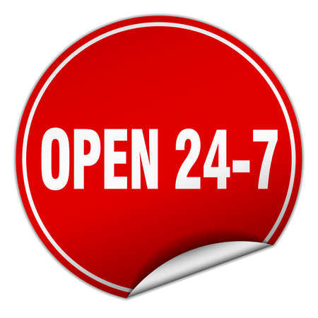 24 7: open 24 7 round red sticker isolated on white
