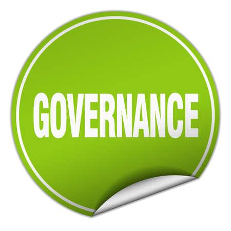 governance: governance round green sticker isolated on white