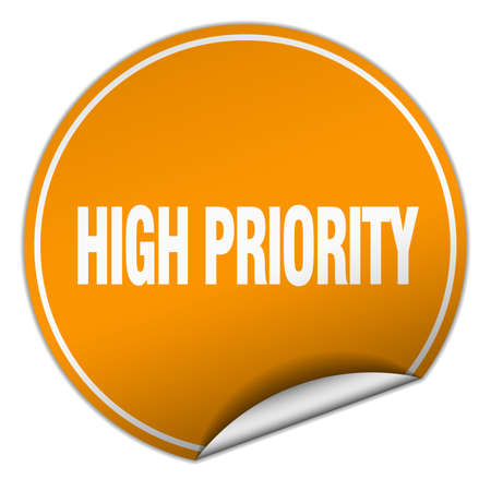 priority: high priority round orange sticker isolated on white