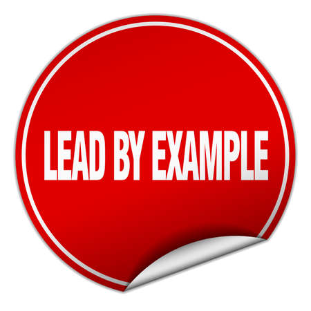 an example: lead by example round red sticker isolated on white Illustration