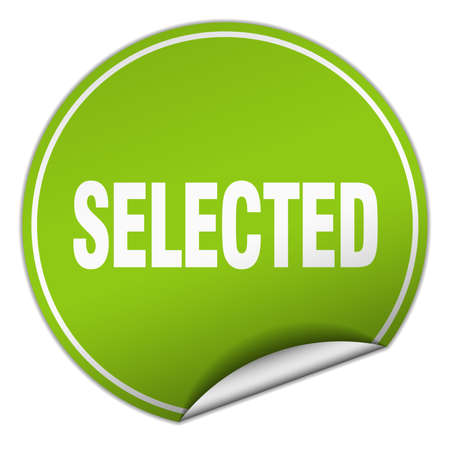 selected: selected round green sticker isolated on white
