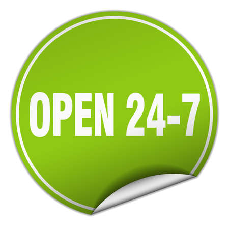 nonstop: open 24 7 round green sticker isolated on white