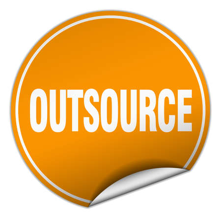 outsource: outsource round orange sticker isolated on white