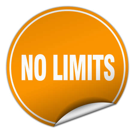 limits: no limits round orange sticker isolated on white