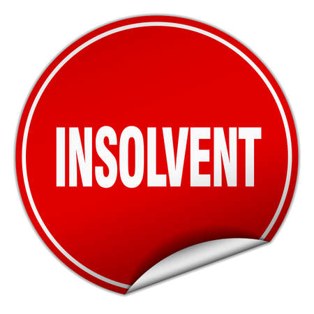 insolvent: insolvent round red sticker isolated on white