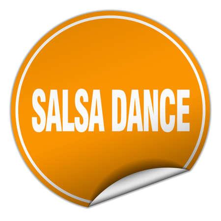 salsa dance: salsa dance round orange sticker isolated on white
