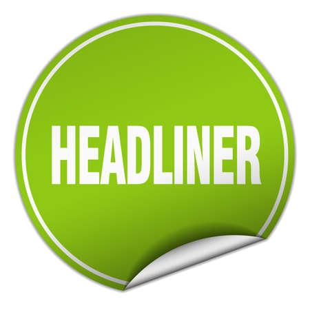 headliner: headliner round green sticker isolated on white