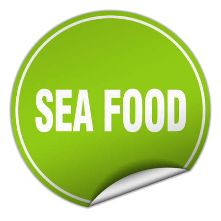 sea food: sea food round green sticker isolated on white