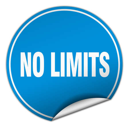 no limits: no limits round blue sticker isolated on white