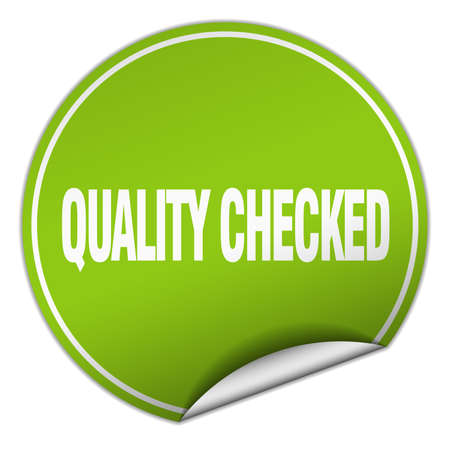 checked: quality checked round green sticker isolated on white