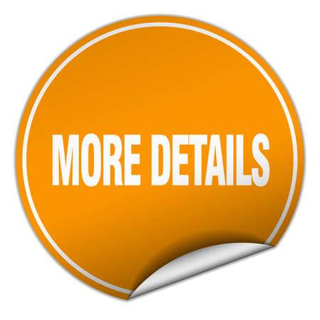 details: more details round orange sticker isolated on white