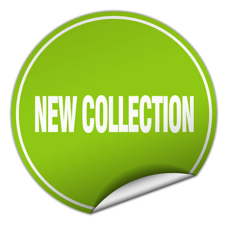 new collection: new collection round green sticker isolated on white