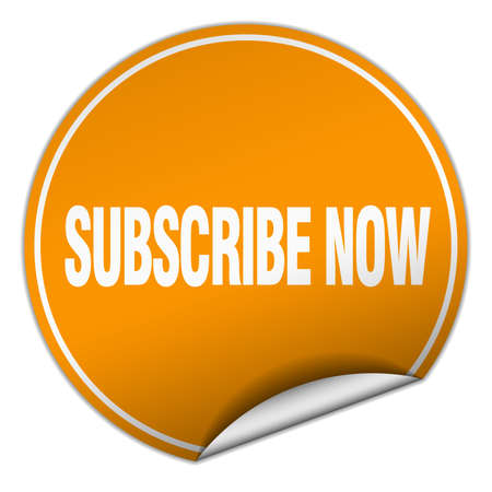 subscribe now: subscribe now round orange sticker isolated on white
