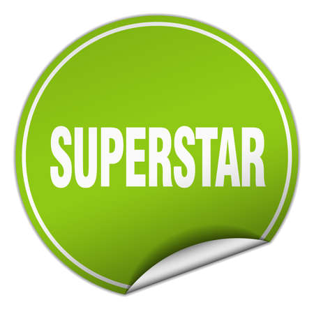 superstar: superstar round green sticker isolated on white