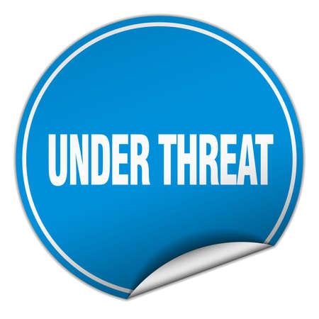threat: under threat round blue sticker isolated on white