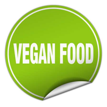 vegan food: vegan food round green sticker isolated on white Illustration