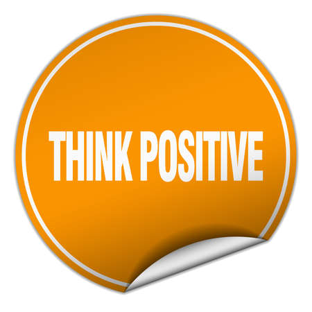 think positive: think positive round orange sticker isolated on white