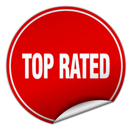 top rated: top rated round red sticker isolated on white