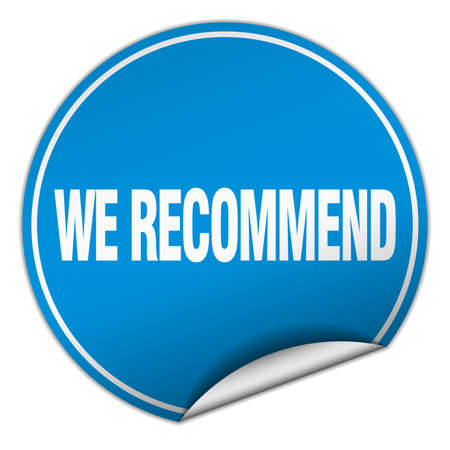 recommend: we recommend round blue sticker isolated on white