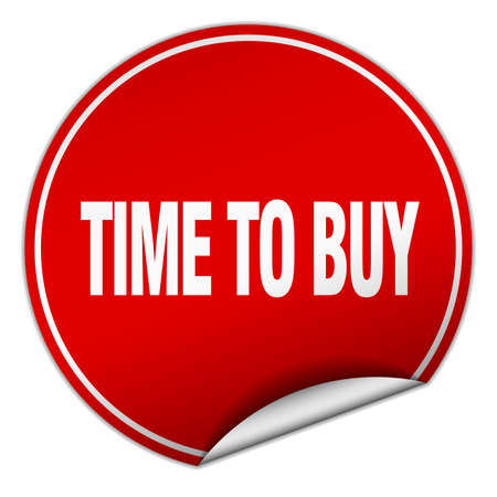 buy time: time to buy round red sticker isolated on white