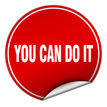 you can do it: you can do it round red sticker isolated on white