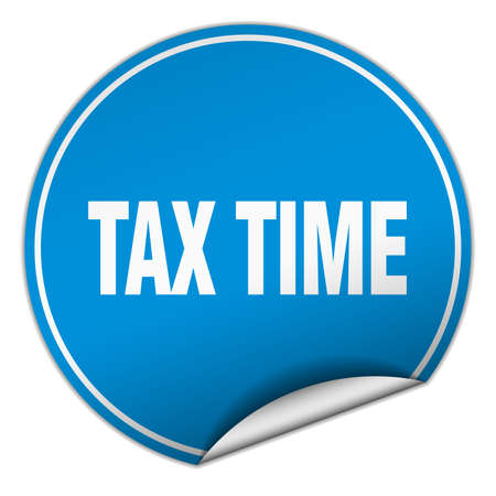 tax time: tax time round blue sticker isolated on white