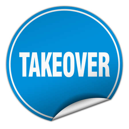 takeover: takeover round blue sticker isolated on white