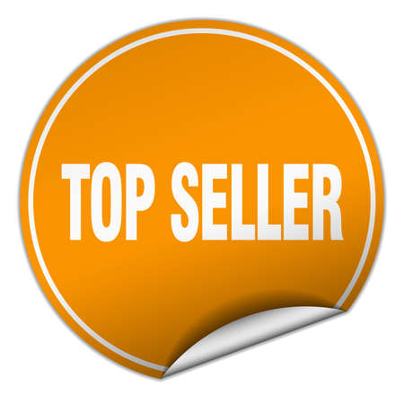 top seller: top seller round orange sticker isolated on white