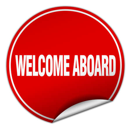 aboard: welcome aboard round red sticker isolated on white