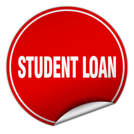 student loan: student loan round red sticker isolated on white