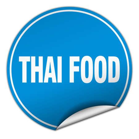 thai food: thai food round blue sticker isolated on white Illustration