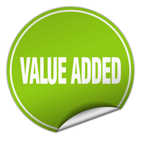 value add: value added round green sticker isolated on white Illustration