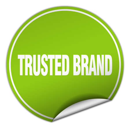 trusted: trusted brand round green sticker isolated on white Illustration