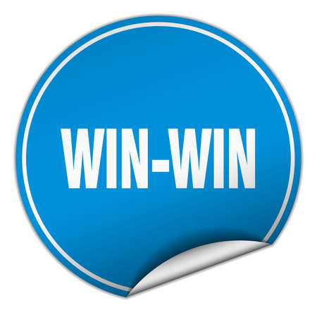 win win: win-win round blue sticker isolated on white