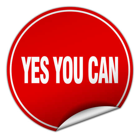 can yes you can: yes you can round red sticker isolated on white