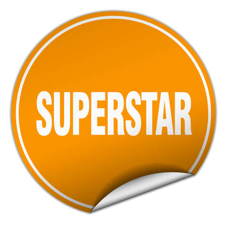 superstar: superstar round orange sticker isolated on white Illustration