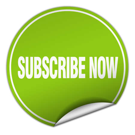 subscribe now: subscribe now round green sticker isolated on white