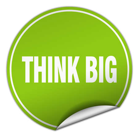 think big: think big round green sticker isolated on white Illustration