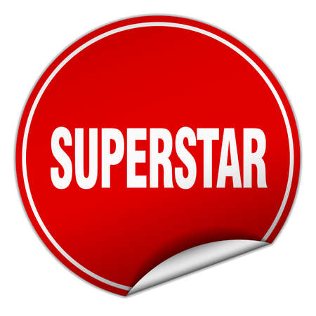 superstar: superstar round red sticker isolated on white Illustration
