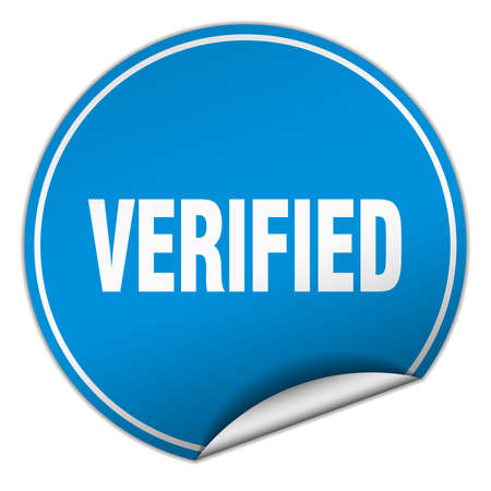 verified: verified round blue sticker isolated on white