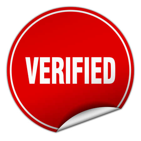 verified: verified round red sticker isolated on white