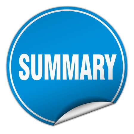 summary: summary round blue sticker isolated on white Illustration