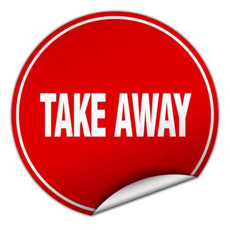 take away: take away round red sticker isolated on white