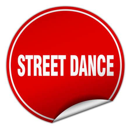 round dance: street dance round red sticker isolated on white