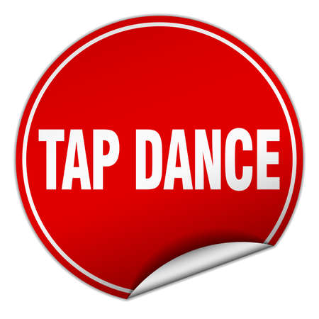 tap dance: tap dance round red sticker isolated on white Illustration