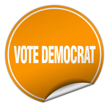 Vote democrat round orange sticker isolated on white royalty free cliparts vectors and stock illustration image 46874215